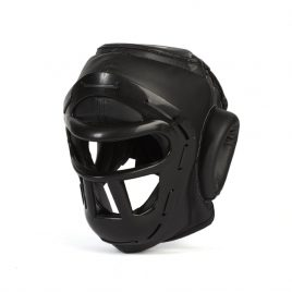 Black Head Guard with Grill Face Protection