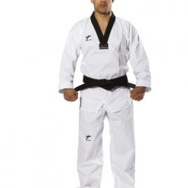 TAEKWONDO Uniform – White poly/cotton with LYCRA, Black V-Neck
